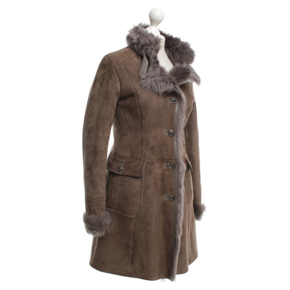 Mabrun Lambskin coat in taupe
