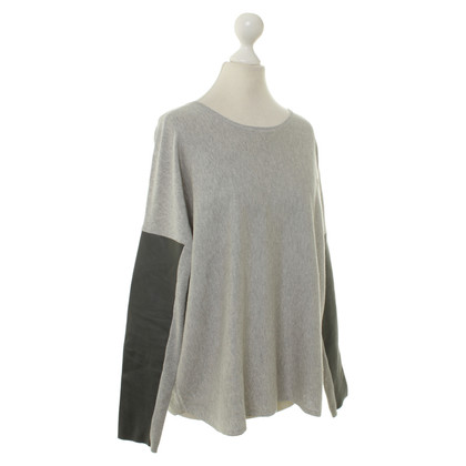 Maje Knit top with leather applications