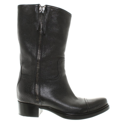 Miu Miu Short leather boots in black