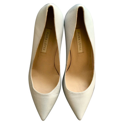 Pura Lopez Grey lederen pumps