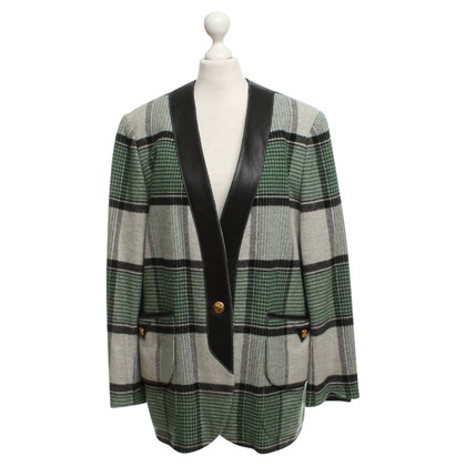 Hermès Coat with check pattern in green / black