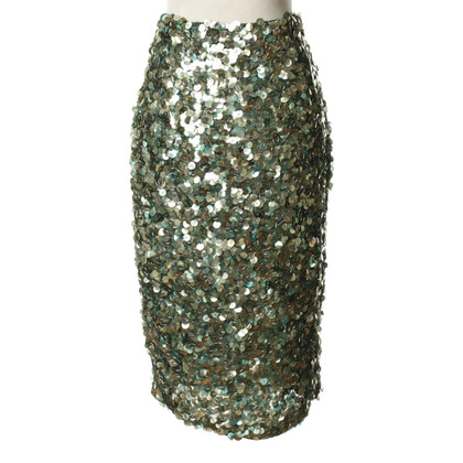 Guido Maria Kretschmer Sequin skirt in shades of green