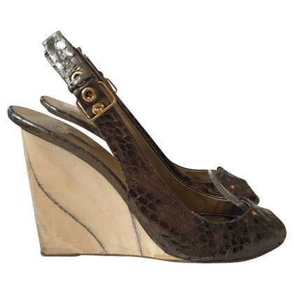 Miu Miu Snake leather peep-toes