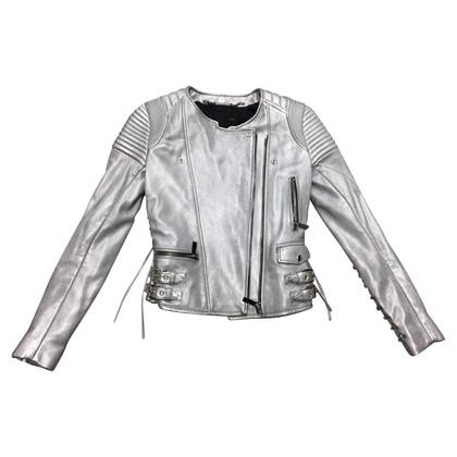Barbara Bui Leren jas in zilver