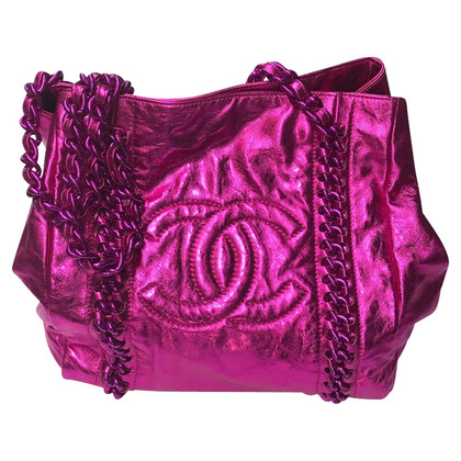 Chanel Handtas in roze metallic