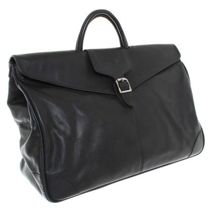 Longchamp pelle nera Weekender