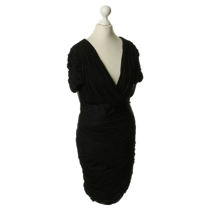 Halston Heritage Shirred Dress in black