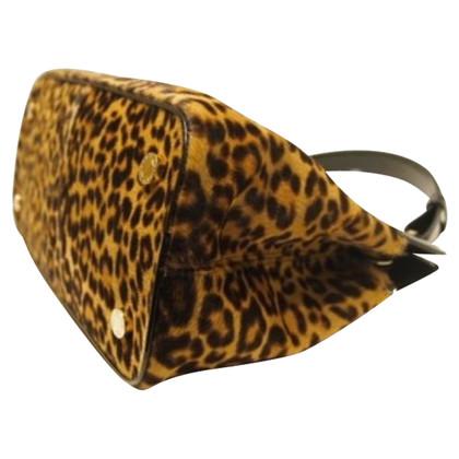 Bulgari shoulder bag in leather and animaltieur print
