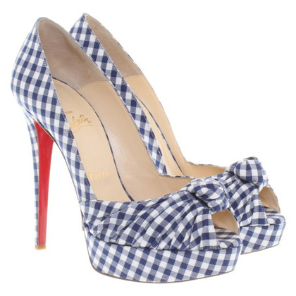 Christian Louboutin Peeptoes in Blau/Weiß