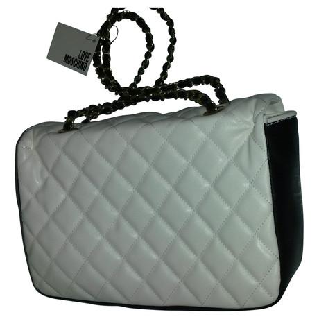 Rabatt Günstiger Preis In Deutschland Online Moschino Tasche aus abgestepptem Leder Weiß Zuverlässige Online-Verkauf vrZrs2PX7