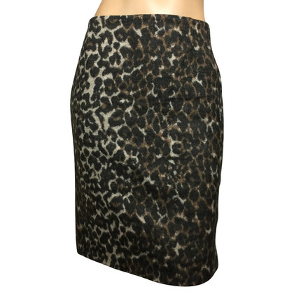 By Malene Birger Wool skirt with Leopard print