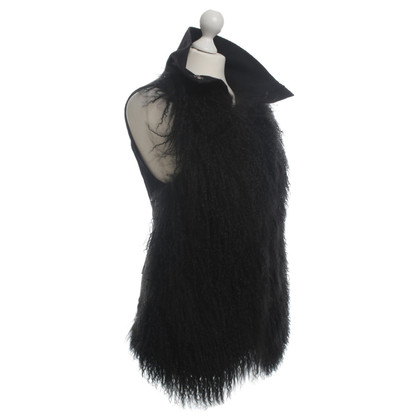 Patrizia Pepe Fur vest in black