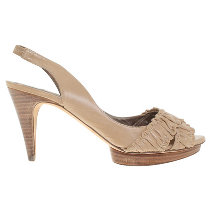 Pura Lopez Leren sandalen in beige