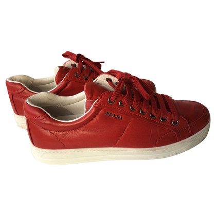 Prada Leather Sneakers in Red