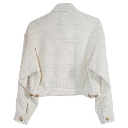 Moschino Bouclé-Jacke in Weiß
