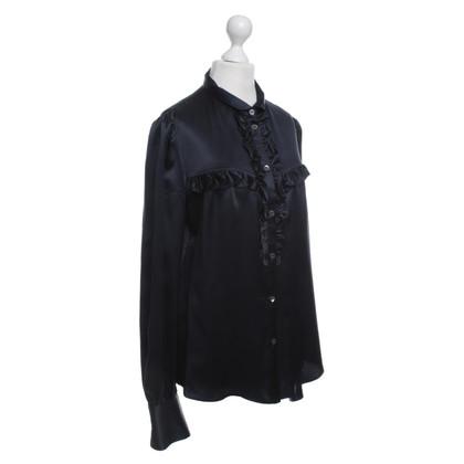 Dolce & Gabbana Scuro camicetta di seta blu