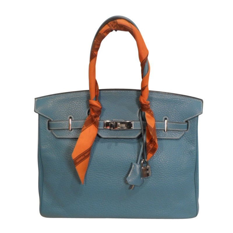 herm s birkin bag 35 blue buy second hand herm s birkin bag 35 blue for 9. Black Bedroom Furniture Sets. Home Design Ideas