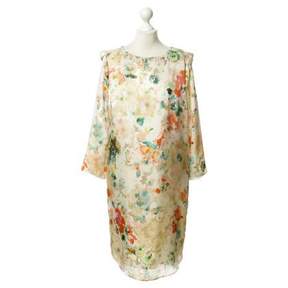 René Lezard Silk dress with floral print