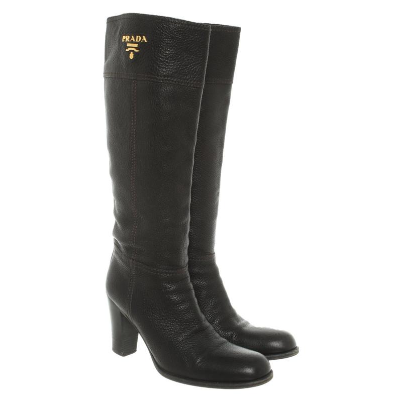 Prada Stiefel aus Leder in Schwarz Second Hand Prada
