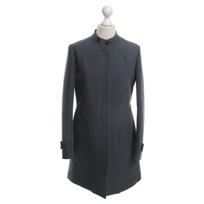 Brunello Cucinelli Grey Blue Cotton Coat
