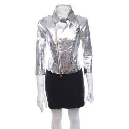 Dsquared2 Leather jacket in silver