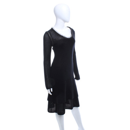 Philosophy di Alberta Ferretti Black knit dress with details