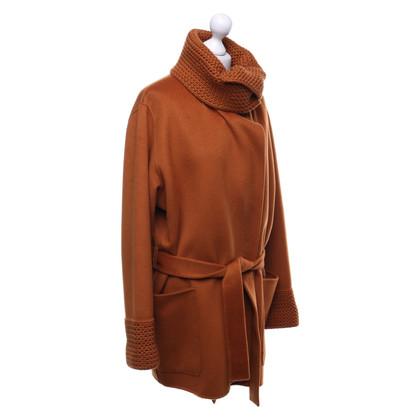 Iris von Arnim Cashmere coat in orange-brown