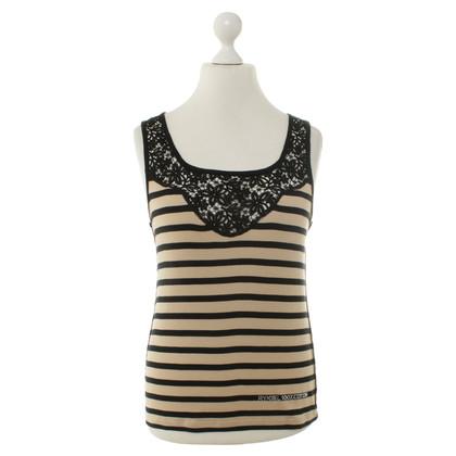 Sonia Rykiel Striped top with lace trim
