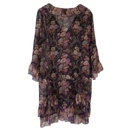 Anna Sui Silk dress with floral pattern