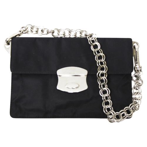47d24640a1c4e1 Prada Clutch Bag Canvas in Black - Second Hand Prada Clutch Bag ...