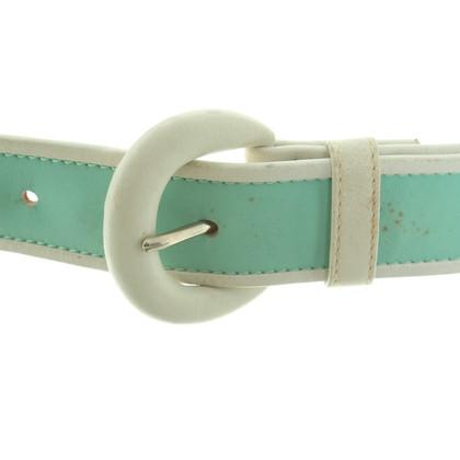 Escada Belt in turquoise / white