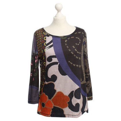 Maliparmi Long-sleeved top with mixed pattern