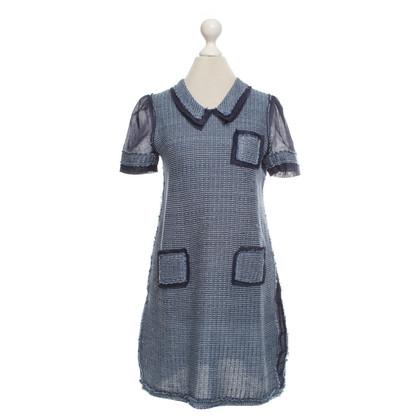 Prada Gebreide jurk in blauw / wit