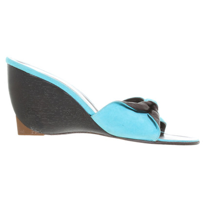 Robert Clergerie Mules with wedge turquoise-black
