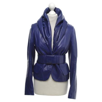 Donna Karan Leather Jacket in Royal Blue