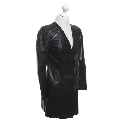 Laurèl Leather coat with lace pattern