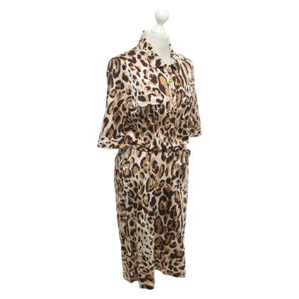Steffen Schraut Silk dress with leopard print
