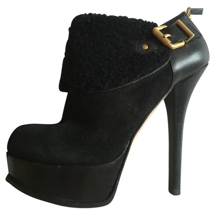 Fendi Black Boot Ankle Boots with Logo 39 EU