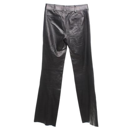 Gucci Leren broek in donkerbruin