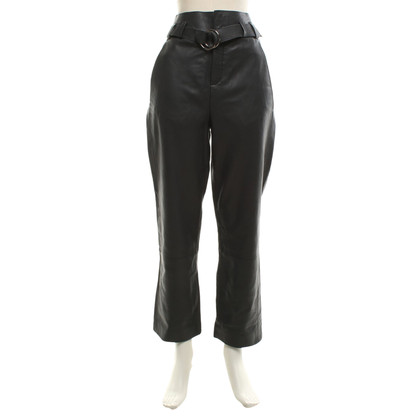 Iris von Arnim Pantaloni di pelle in colore grigio scuro