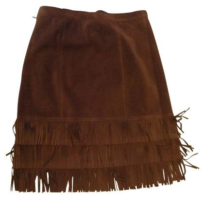 Ralph Lauren Fringed leather skirt
