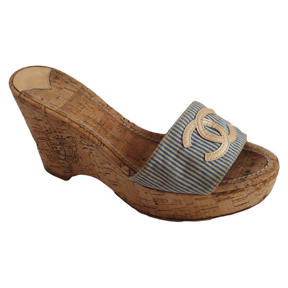 Chanel Chanel cork wedges blue white strips