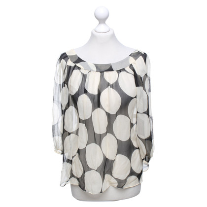 Diane von Furstenberg Silk blouse in beige / black