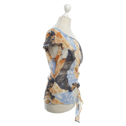 Escada One-Shoulder-Bluse mit Blumenmuster