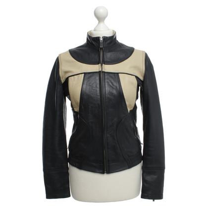 Calvin Klein Two-tone leather jacket