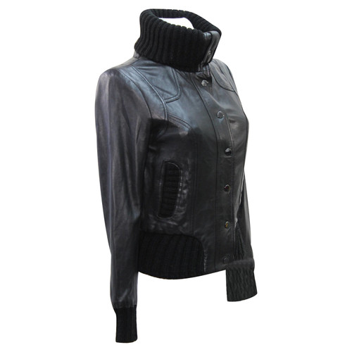 9206b02891f1 Ted Baker Leather jacket   coat in black - Second Hand Ted Baker ...