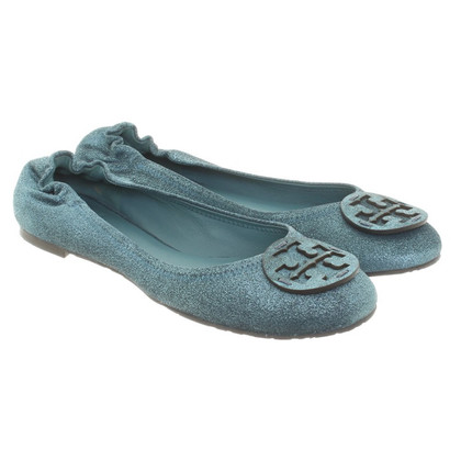 Tory Burch Ballerina's in donkere turquoise