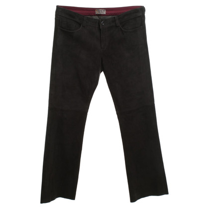 Schacky & Jones pantaloni di pelle in nero / grigio