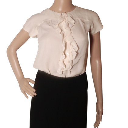 Longchamp Cream silk ruffled blouse