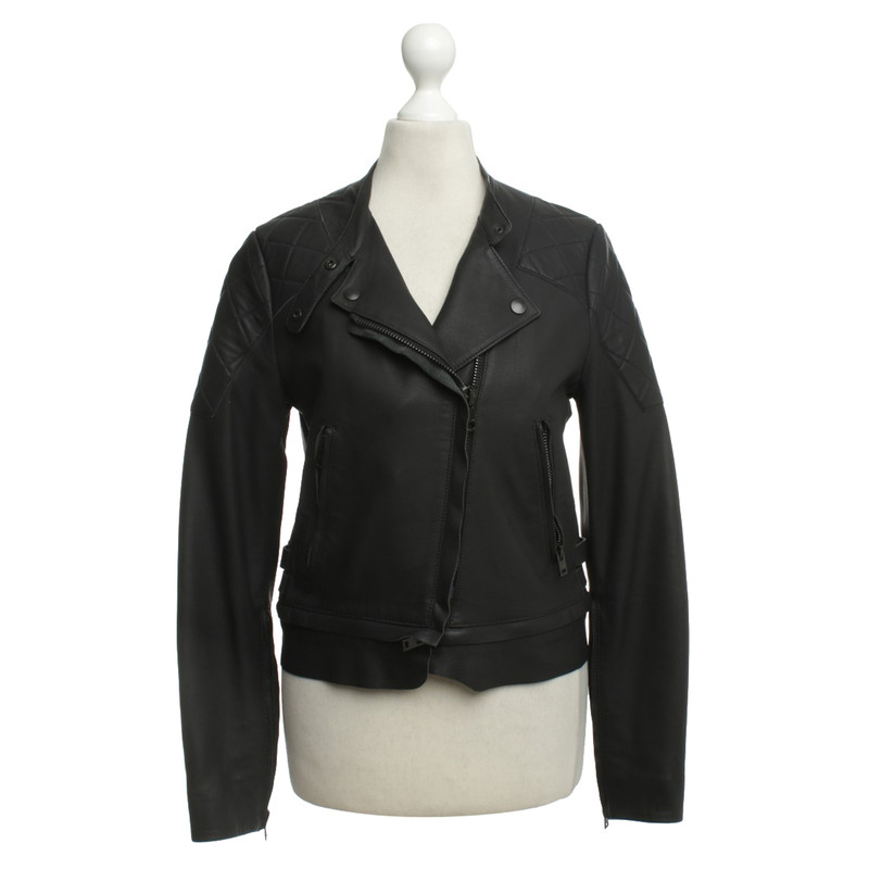 Acne Lederjacke mit Steppdetails Second Hand Acne